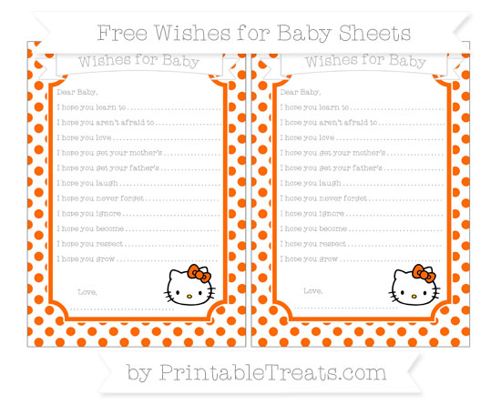 Free Safety Orange Dotted Pattern Hello Kitty Wishes for Baby Sheets