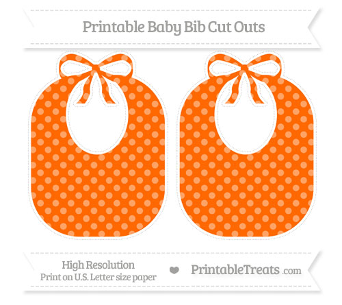 Free Safety Orange Dotted Pattern Large Baby Bib Cut Outs