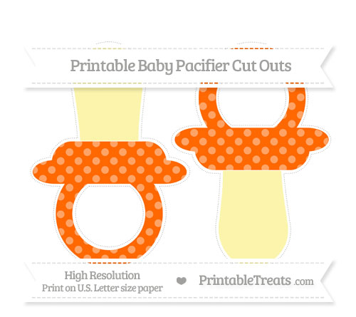 Free Safety Orange Dotted Pattern Large Baby Pacifier Cut Outs
