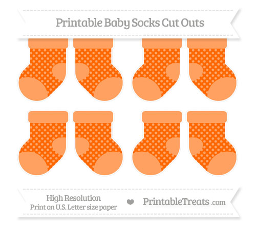 Free Safety Orange Dotted Pattern Small Baby Socks Cut Outs