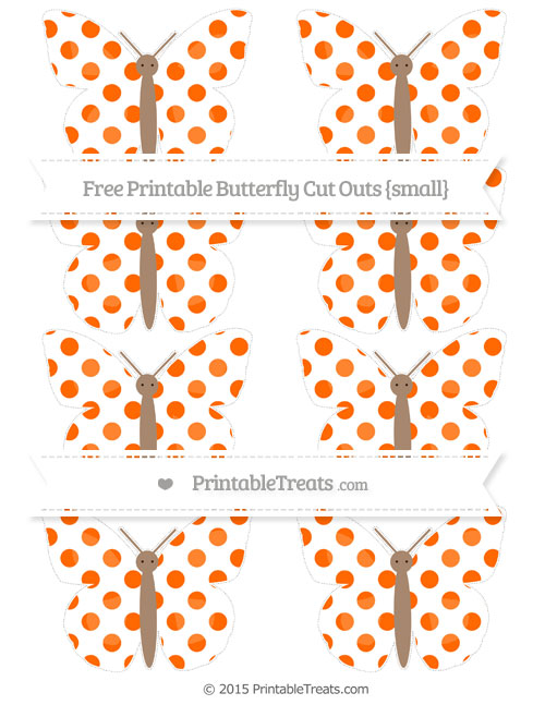 Free Safety Orange Dotted Pattern Small Butterfly Cut Outs
