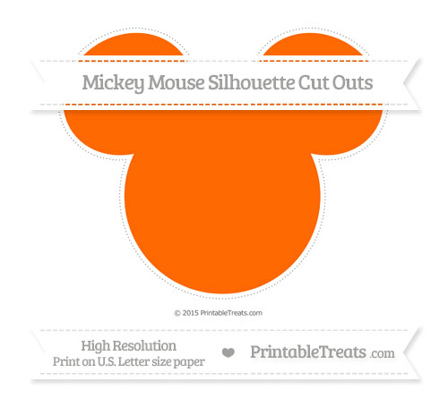 Free Safety Orange Extra Large Mickey Mouse Silhouette Cut Outs