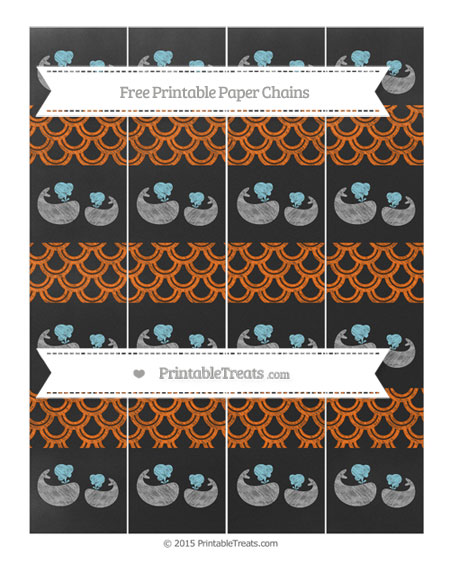 Free Safety Orange Fish Scale Pattern Chalk Style Baby Whale Paper Chains