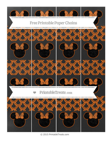 Free Safety Orange Fish Scale Pattern Chalk Style Minnie Mouse Paper Chains