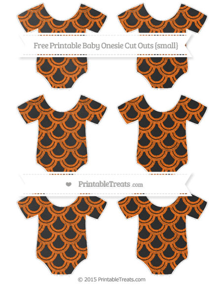 Free Safety Orange Fish Scale Pattern Chalk Style Small Baby Onesie Cut Outs