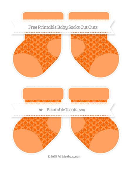Free Safety Orange Fish Scale Pattern Medium Baby Socks Cut Outs
