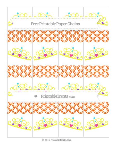 Free Safety Orange Fish Scale Pattern Princess Tiara Paper Chains