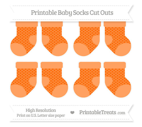 Free Safety Orange Fish Scale Pattern Small Baby Socks Cut Outs
