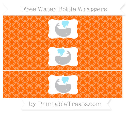 Free Safety Orange Fish Scale Pattern Whale Water Bottle Wrappers