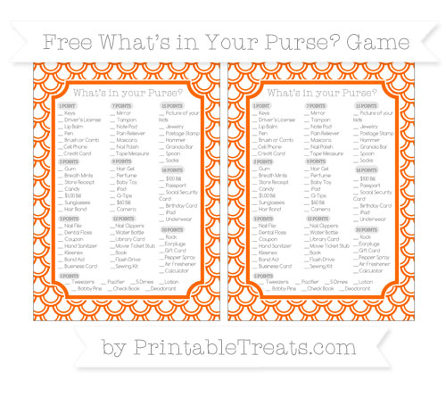 Free Safety Orange Fish Scale Pattern What's in Your Purse Baby Shower Game
