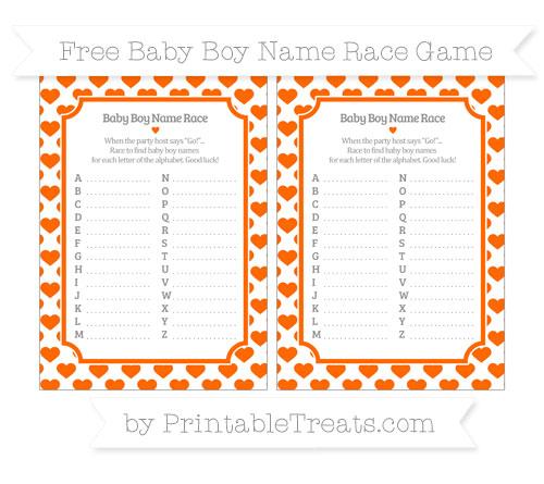Free Safety Orange Heart Pattern Baby Boy Name Race Game