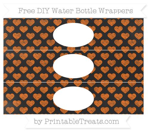 Free Safety Orange Heart Pattern Chalk Style DIY Water Bottle Wrappers