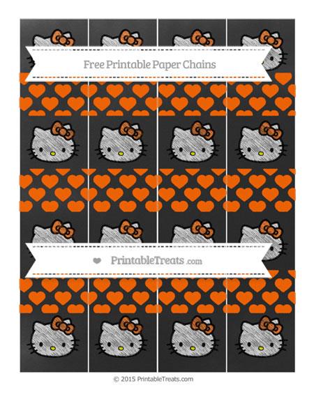 Free Safety Orange Heart Pattern Chalk Style Hello Kitty Paper Chains