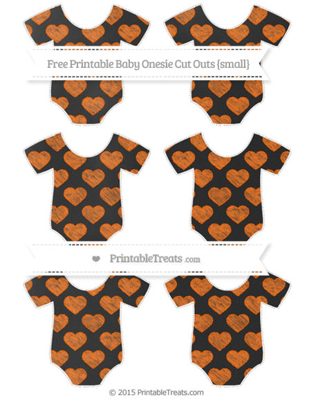 Free Safety Orange Heart Pattern Chalk Style Small Baby Onesie Cut Outs