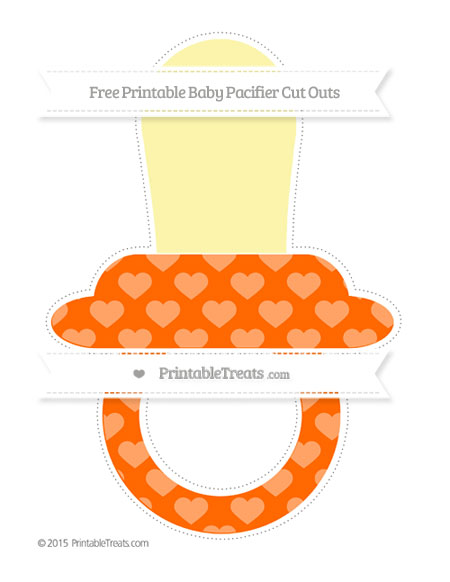 Free Safety Orange Heart Pattern Extra Large Baby Pacifier Cut Outs
