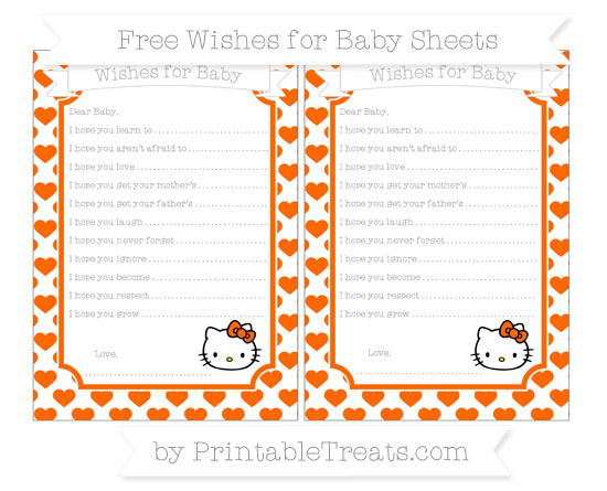 Free Safety Orange Heart Pattern Hello Kitty Wishes for Baby Sheets
