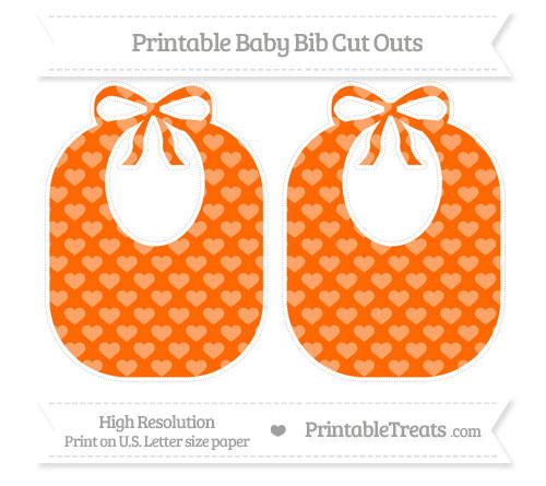 Free Safety Orange Heart Pattern Large Baby Bib Cut Outs