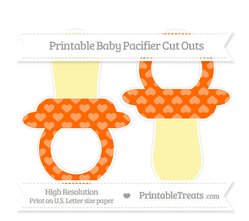 Free Safety Orange Heart Pattern Large Baby Pacifier Cut Outs