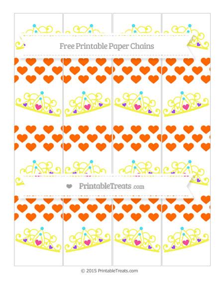 Free Safety Orange Heart Pattern Princess Tiara Paper Chains