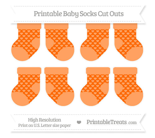 Free Safety Orange Heart Pattern Small Baby Socks Cut Outs