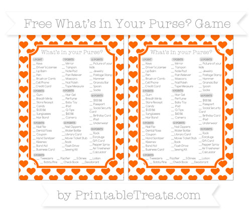 Free Safety Orange Heart Pattern What's in Your Purse Baby Shower Game
