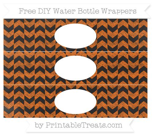 Free Safety Orange Herringbone Pattern Chalk Style DIY Water Bottle Wrappers