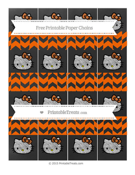 Free Safety Orange Herringbone Pattern Chalk Style Hello Kitty Paper Chains