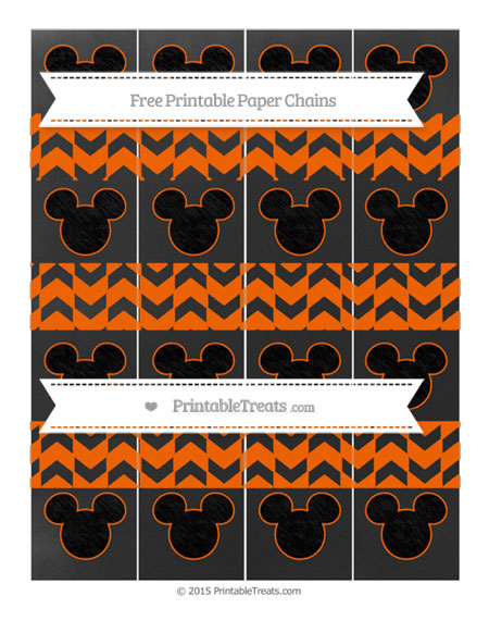 Free Safety Orange Herringbone Pattern Chalk Style Mickey Mouse Paper Chains