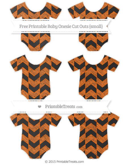 Free Safety Orange Herringbone Pattern Chalk Style Small Baby Onesie Cut Outs