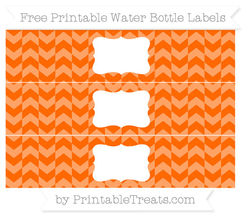 Free Safety Orange Herringbone Pattern Water Bottle Labels