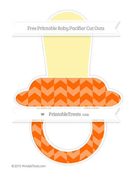 Free Safety Orange Herringbone Pattern Extra Large Baby Pacifier Cut Outs