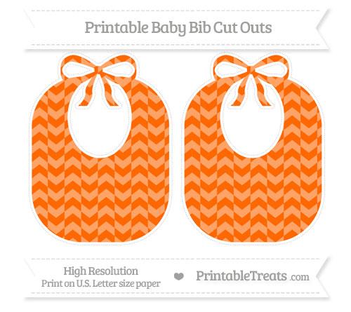 Free Safety Orange Herringbone Pattern Large Baby Bib Cut Outs