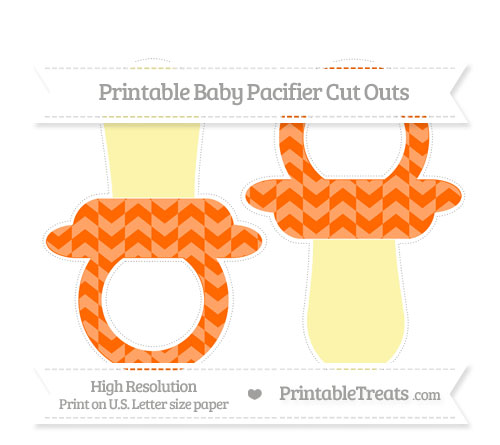 Free Safety Orange Herringbone Pattern Large Baby Pacifier Cut Outs