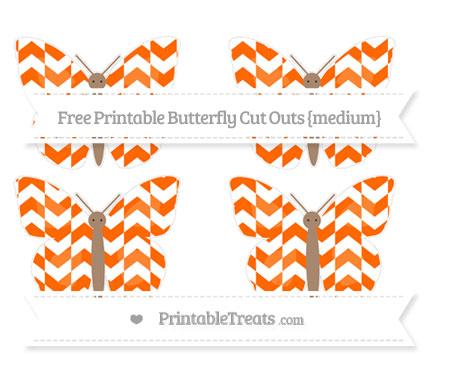 Free Safety Orange Herringbone Pattern Medium Butterfly Cut Outs
