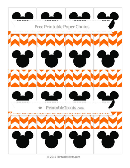 Free Safety Orange Herringbone Pattern Mickey Mouse Paper Chains