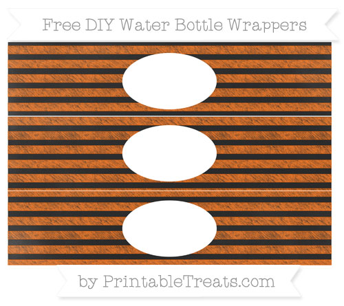 Free Safety Orange Horizontal Striped Chalk Style DIY Water Bottle Wrappers