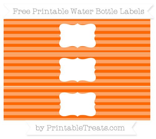 Free Safety Orange Horizontal Striped Water Bottle Labels