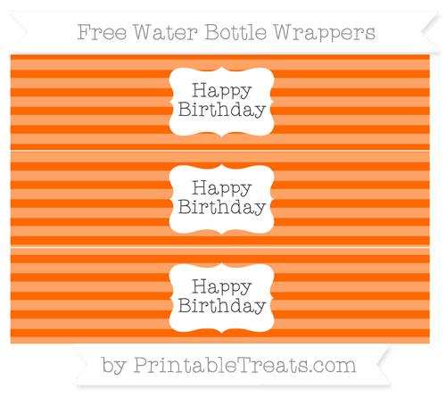 Free Safety Orange Horizontal Striped Happy Birhtday Water Bottle Wrappers