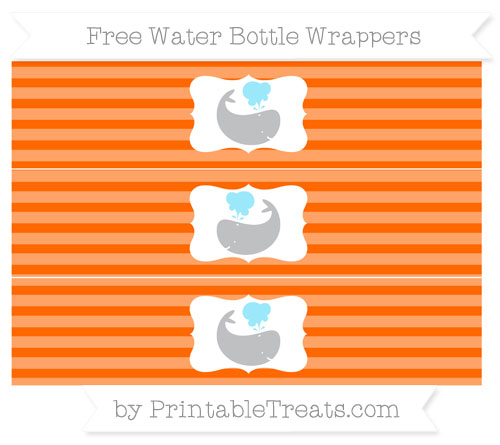 Free Safety Orange Horizontal Striped Whale Water Bottle Wrappers