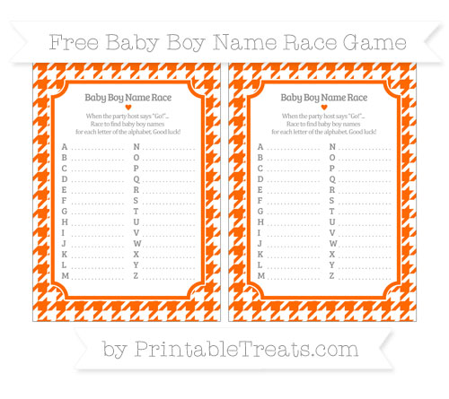Free Safety Orange Houndstooth Pattern Baby Boy Name Race Game
