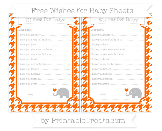 Free Safety Orange Houndstooth Pattern Baby Elephant Wishes for Baby Sheets