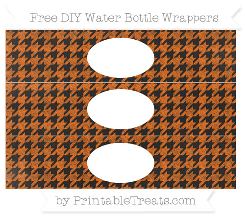 Free Safety Orange Houndstooth Pattern Chalk Style DIY Water Bottle Wrappers