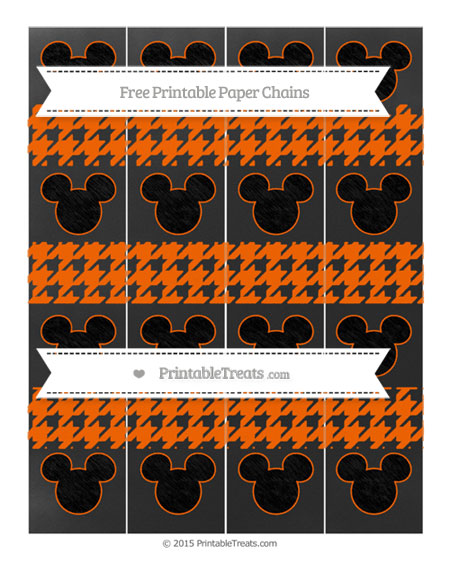 Free Safety Orange Houndstooth Pattern Chalk Style Mickey Mouse Paper Chains