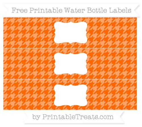 Free Safety Orange Houndstooth Pattern Water Bottle Labels