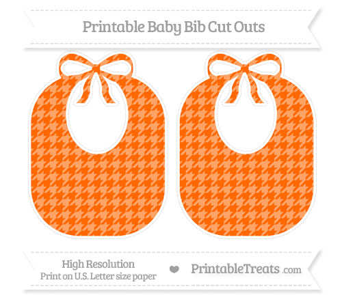 Free Safety Orange Houndstooth Pattern Large Baby Bib Cut Outs