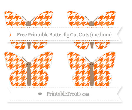 Free Safety Orange Houndstooth Pattern Medium Butterfly Cut Outs