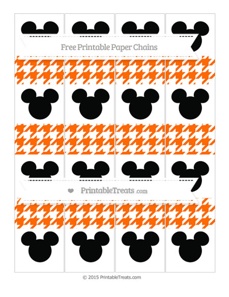 Free Safety Orange Houndstooth Pattern Mickey Mouse Paper Chains