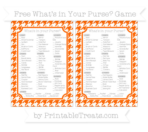Free Safety Orange Houndstooth Pattern What's in Your Purse Baby Shower Game