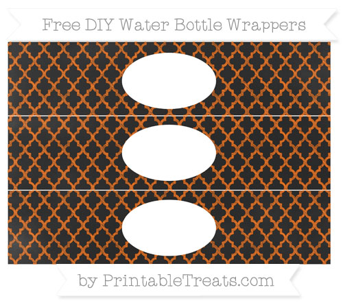 Free Safety Orange Moroccan Tile Chalk Style DIY Water Bottle Wrappers