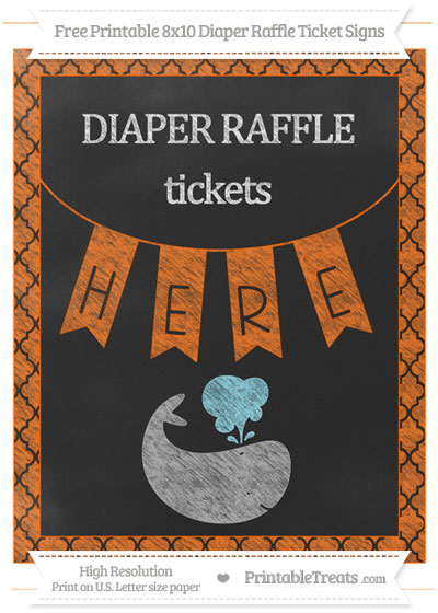 Free Safety Orange Moroccan Tile Chalk Style Whale 8x10 Diaper Raffle Ticket Sign